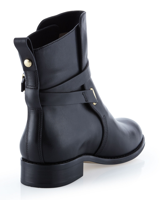 michael michael kors arley leather ankle boot in black lyst. Black Bedroom Furniture Sets. Home Design Ideas