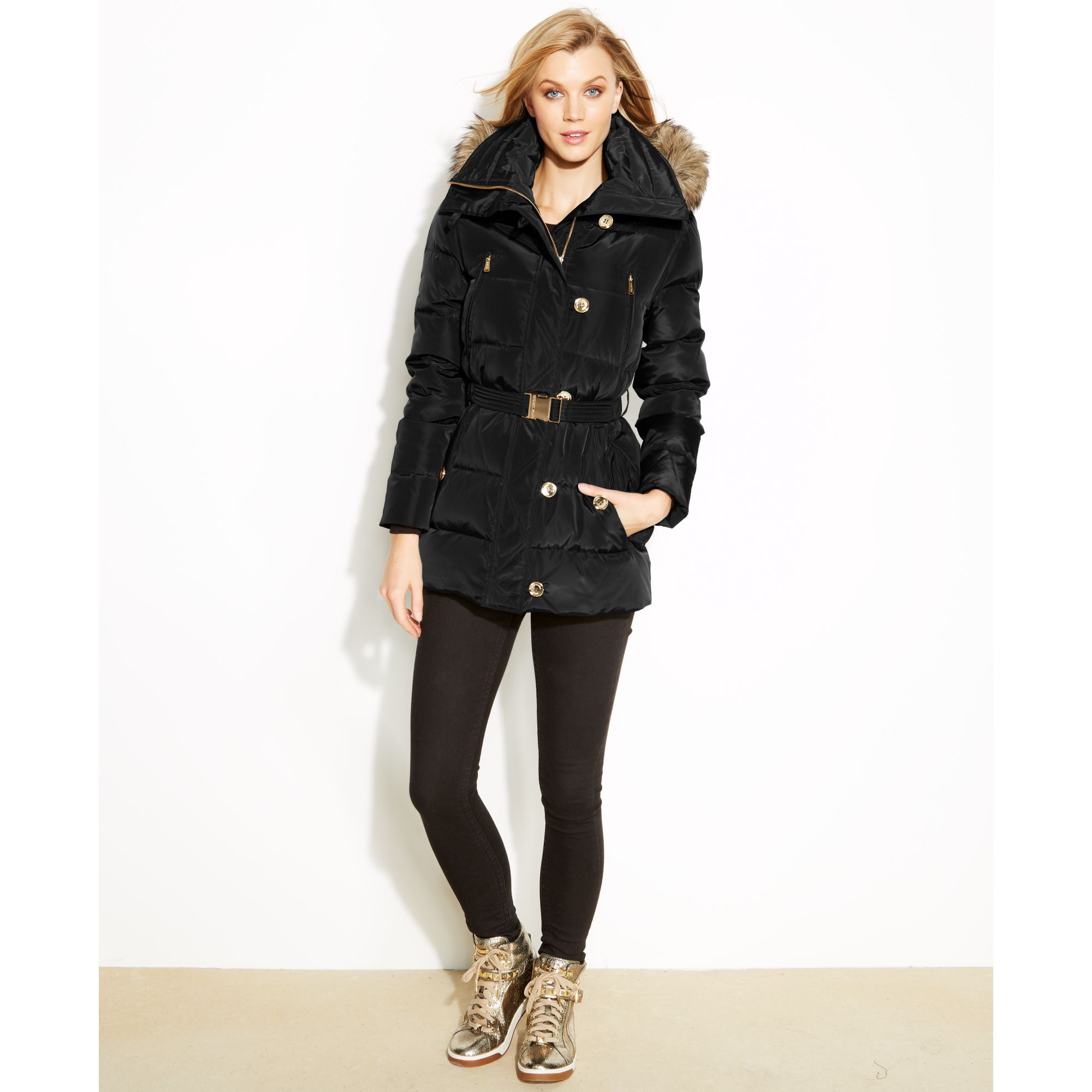 Michael kors Hooded Faux-furtrim Quilted Belted Puffer in Black | Lyst : quilted belted coat - Adamdwight.com