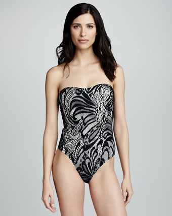 Oye Swimwear Ella Laceprint Strapless Swimsuit Blackwhite - Lyst