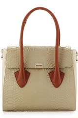 Pour La Victoire Morandi Washed Crocodileembossed Tote Natural - Lyst