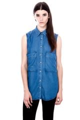 Pull&Bear Sleeveless Denim Shirt - Lyst