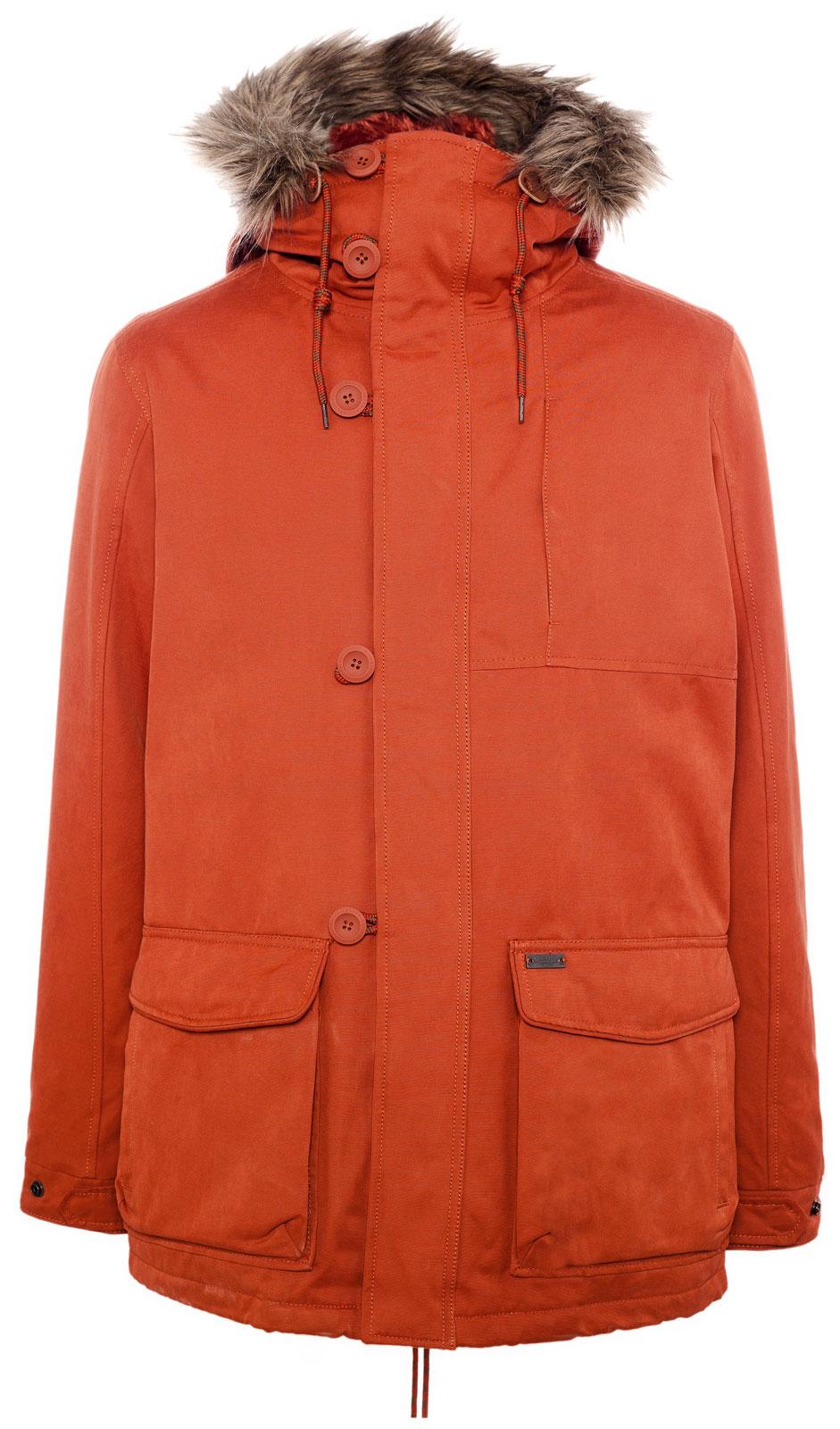 pull bear parka with fur hood in orange for men lyst. Black Bedroom Furniture Sets. Home Design Ideas