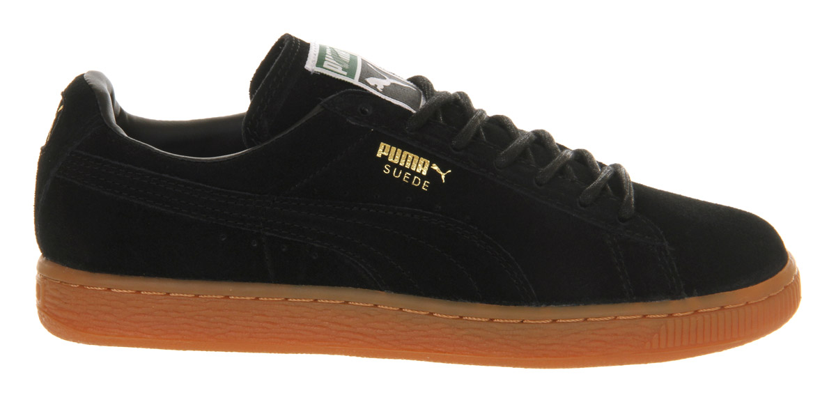 puma mens black suede gum sole