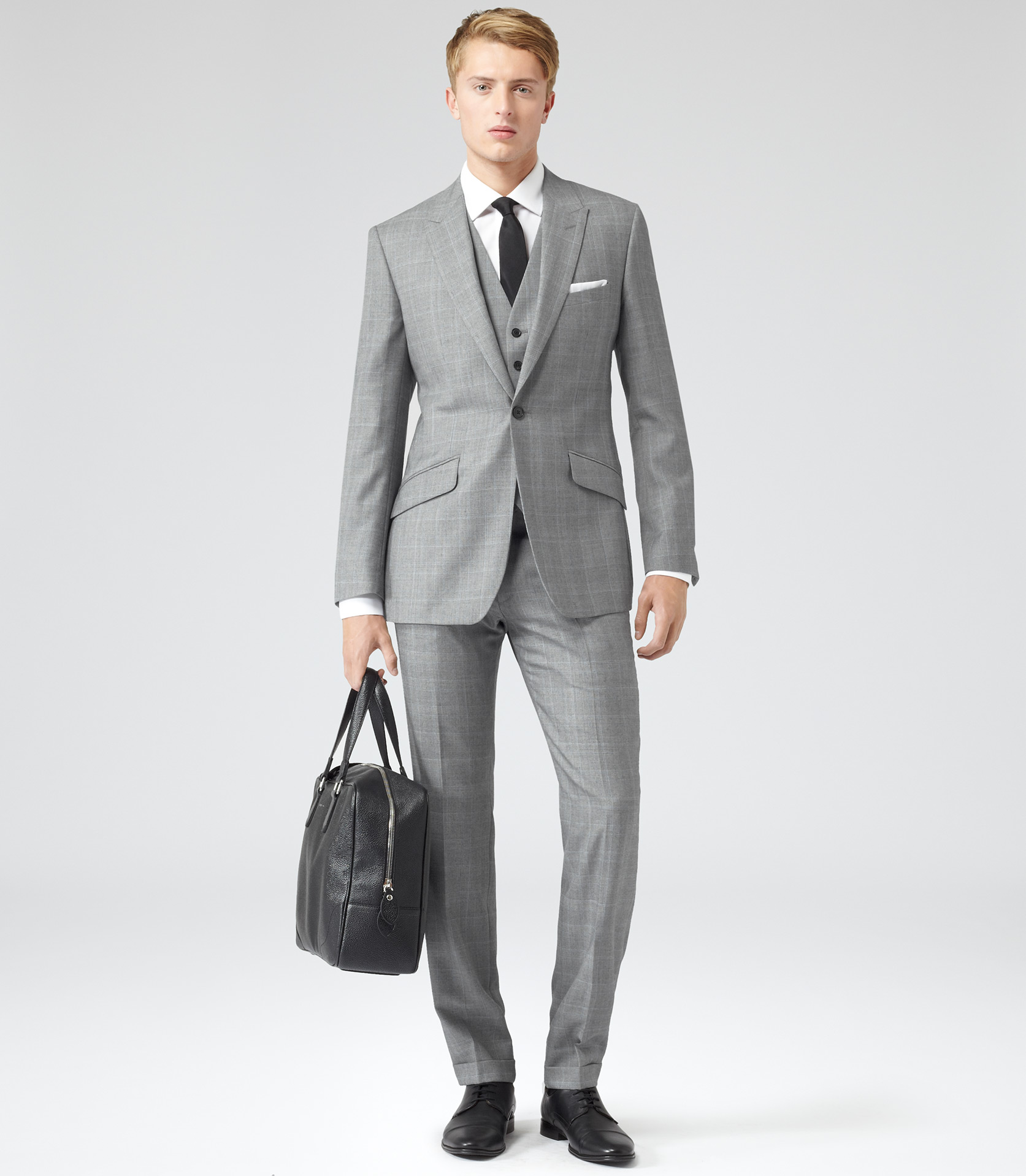 Reiss Dodd Double Notch Three Piece Suit in Gray for Men | Lyst