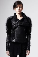 Rick Owens Fursleeve Leather Biker Jacket - Lyst