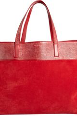 Saint Laurent Stud-detailed East-west Shopper Tote - Lyst