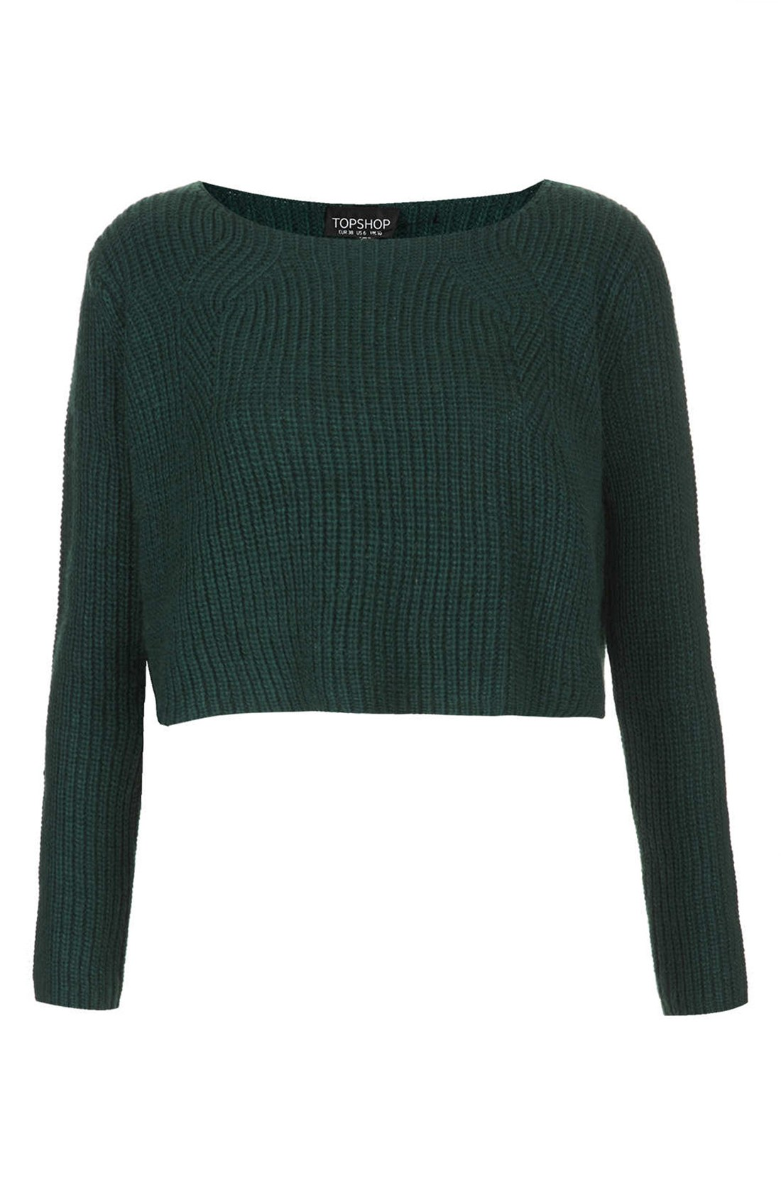 Topshop Ribbed Crop Sweater in Green | Lyst