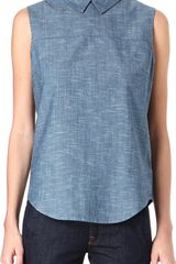 Victoria Beckham Sleeveless Cotton Shirt - Lyst