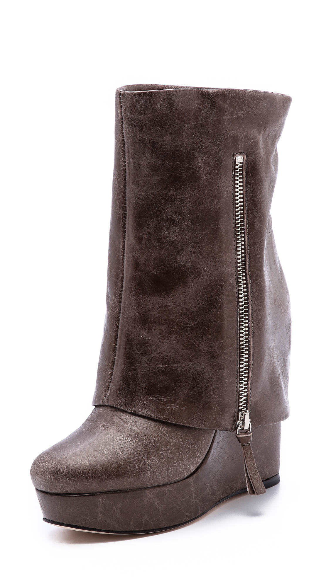 yeardley leather cuff boots in brown taupe