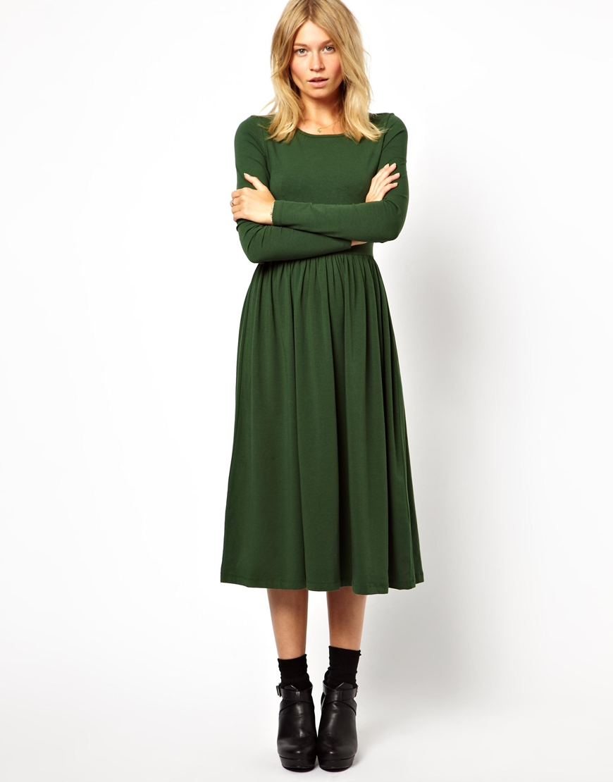 0bd889cbc90a Lyst - ASOS Midi Skater Dress With Long Sleeves in Green