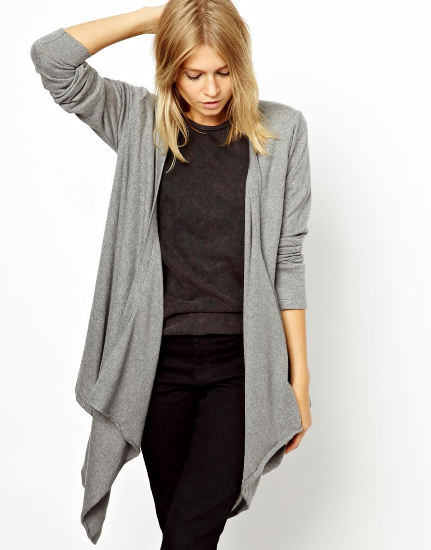 Asos Waterfall Cardigan in Gray | Lyst