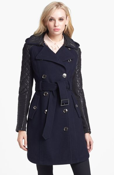 Bcbgmaxazria Quilted Leather Sleeve Trench Coat in Blue (Navy)