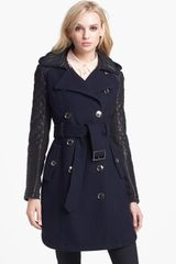 Bcbgmaxazria Quilted Leather Sleeve Trench Coat in Blue (Navy) - Lyst