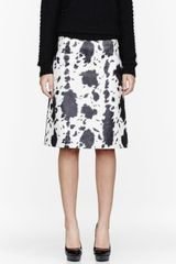 Burberry Prorsum Black and White Lambskin Animal Print Pencil Skirt - Lyst