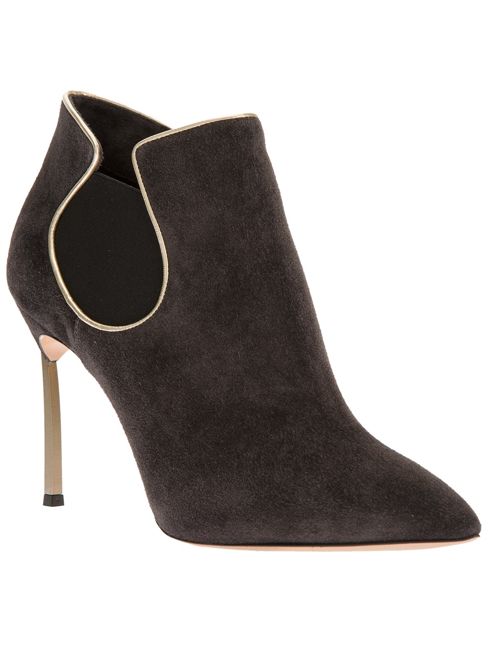 casadei pointed toe chelsea boot in gray grey lyst