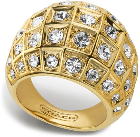 coach beveled pave dome ring in gold gold clear lyst