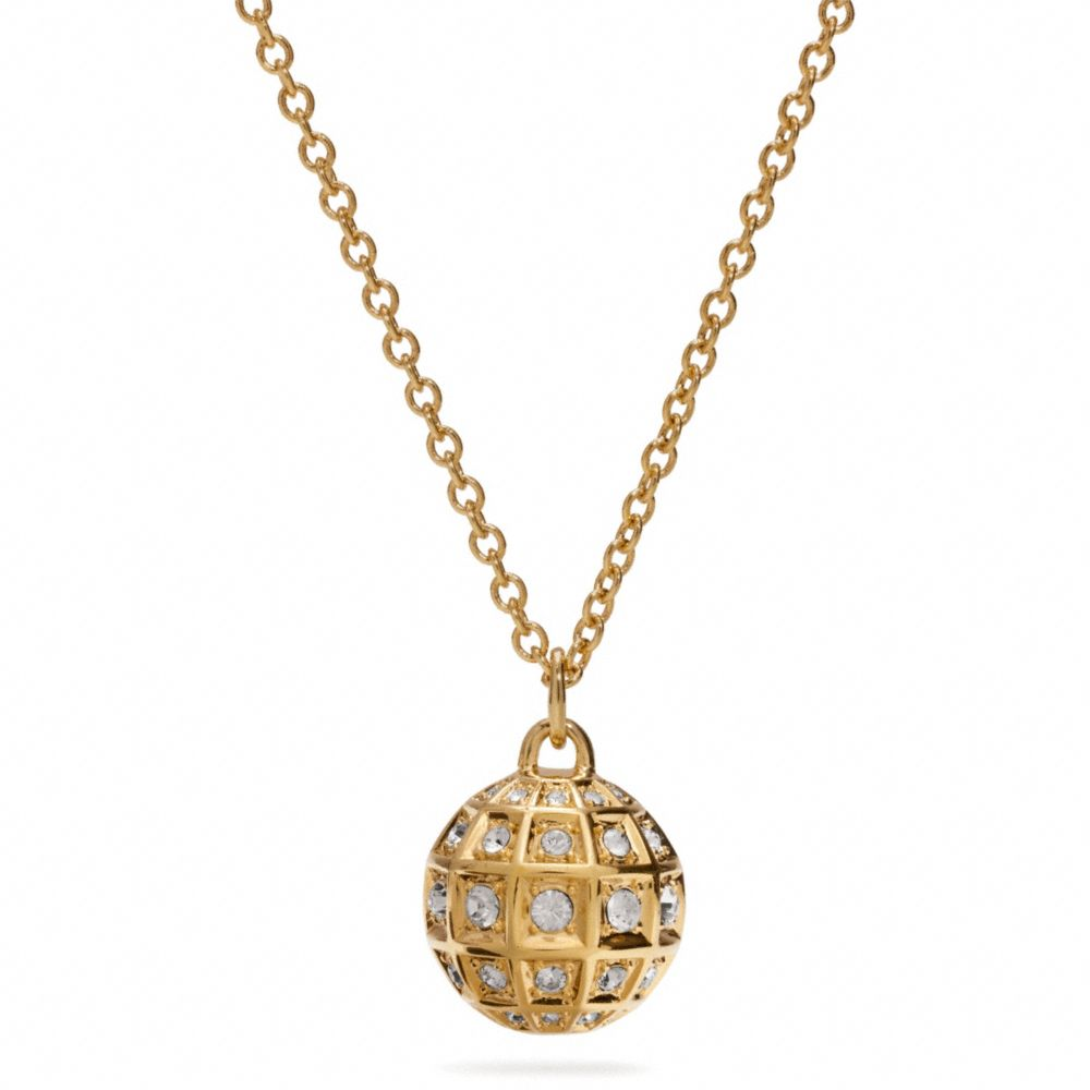 Coach Long Beveled Pave Ball Necklace In Metallic Lyst