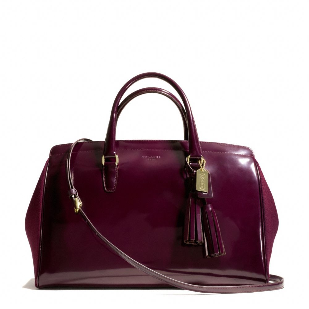 Coach Legacy Legacy Pinnacle Large Lowell Satchel in Polished Calf Leather with Felt Gold/Merlot | coach fall 2013 handbags