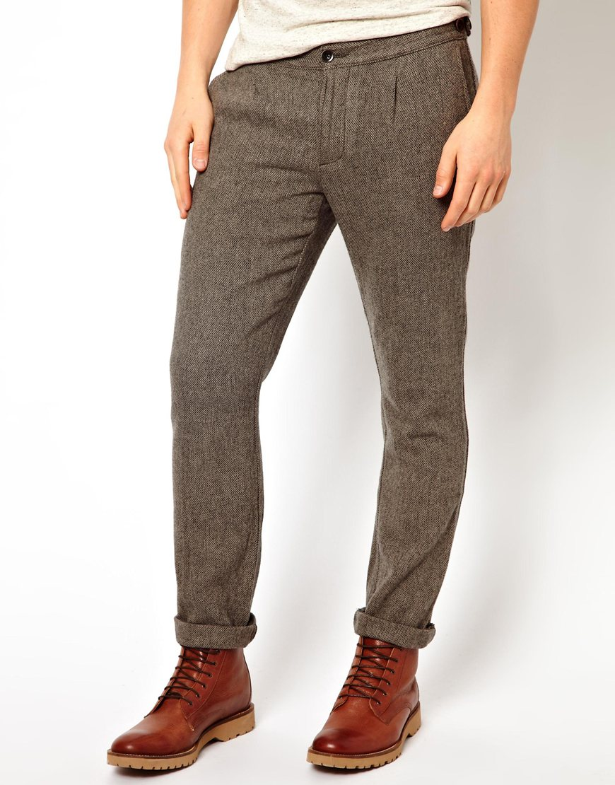 Asos Farah Vintage Wool Pants in Gray for Men | Lyst