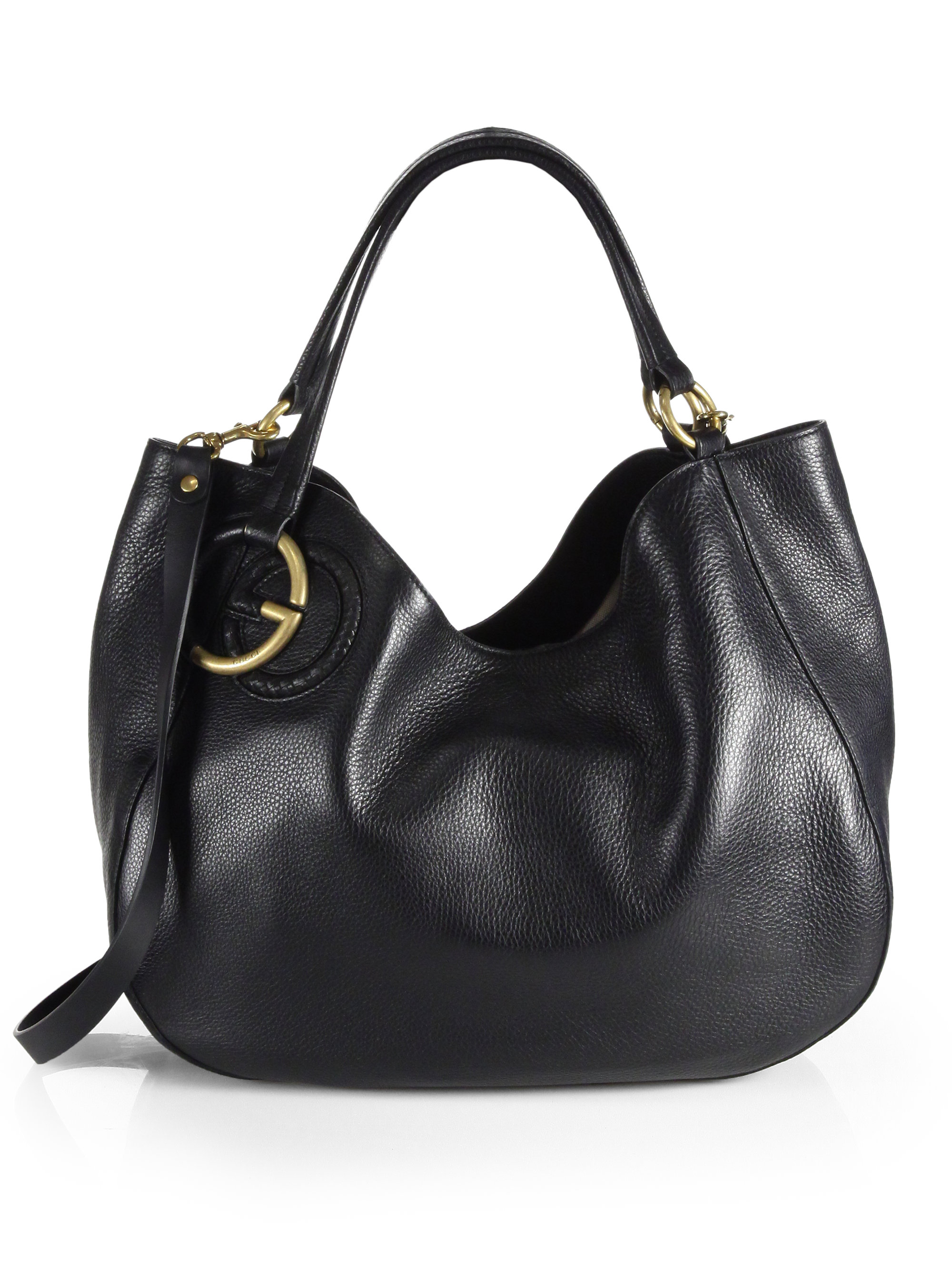 Gucci Twill Leather Medium Shoulder Bag in Black | Lyst