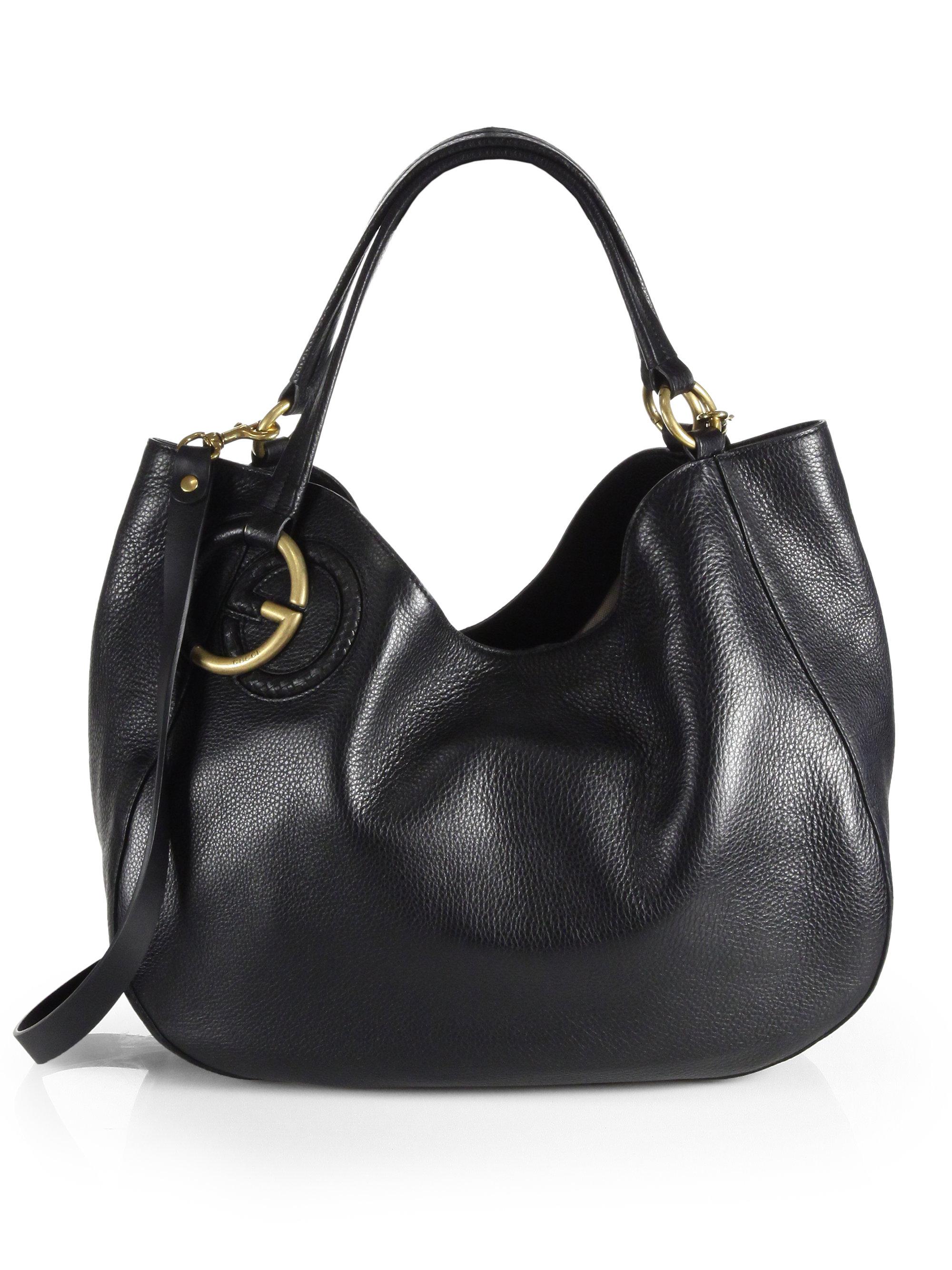 gucci black leather handbag gucci s leather 2 way