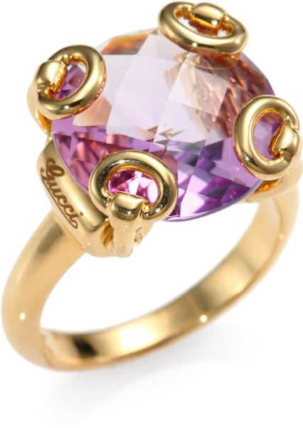gucci horsebit amtheyst 18k yellow gold cocktail ring in