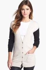 Halogen Colorblock V Neck Cardigan - Lyst