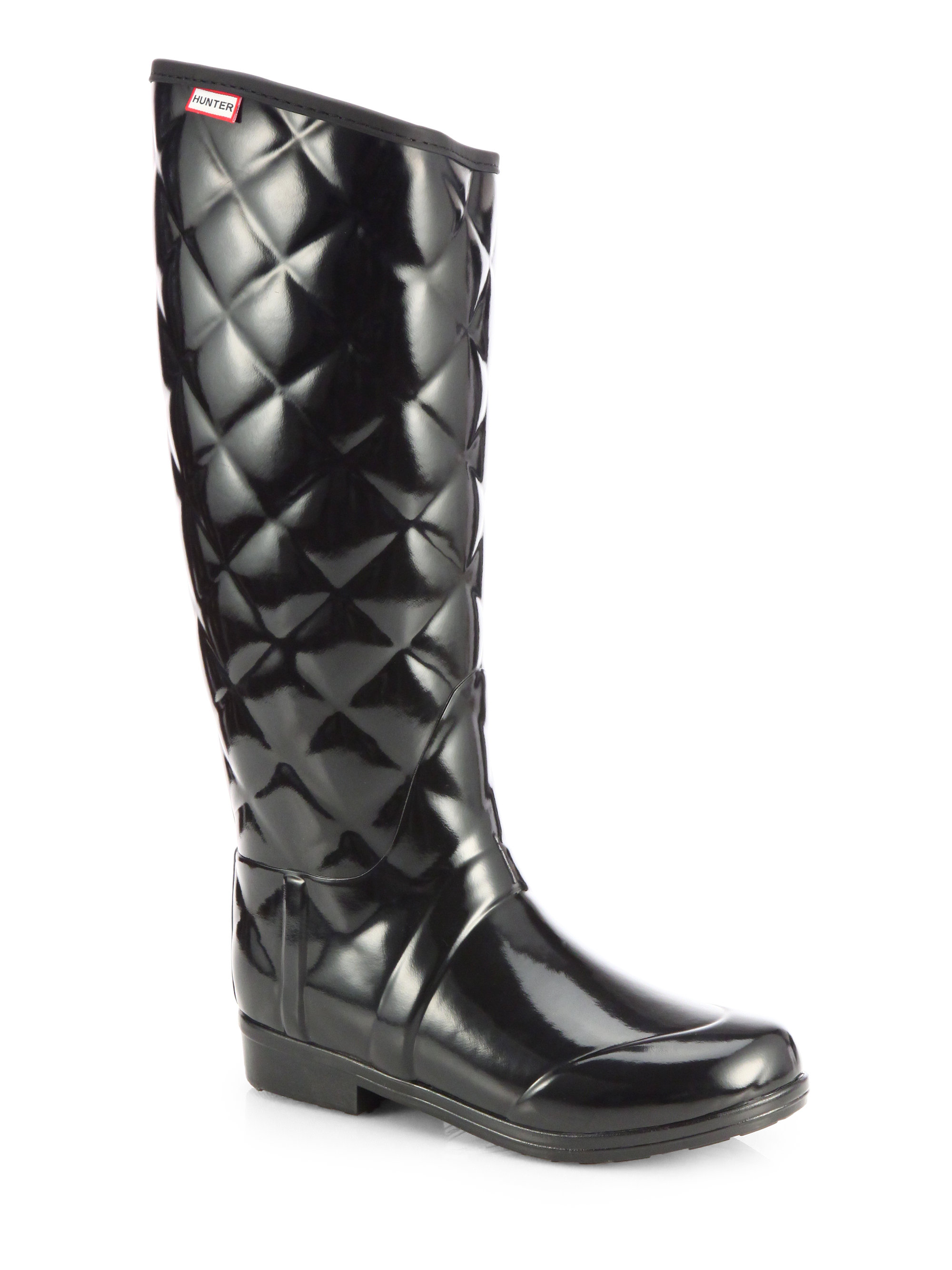 33a55020635a Lyst - HUNTER Quilted Rain Boots in Black