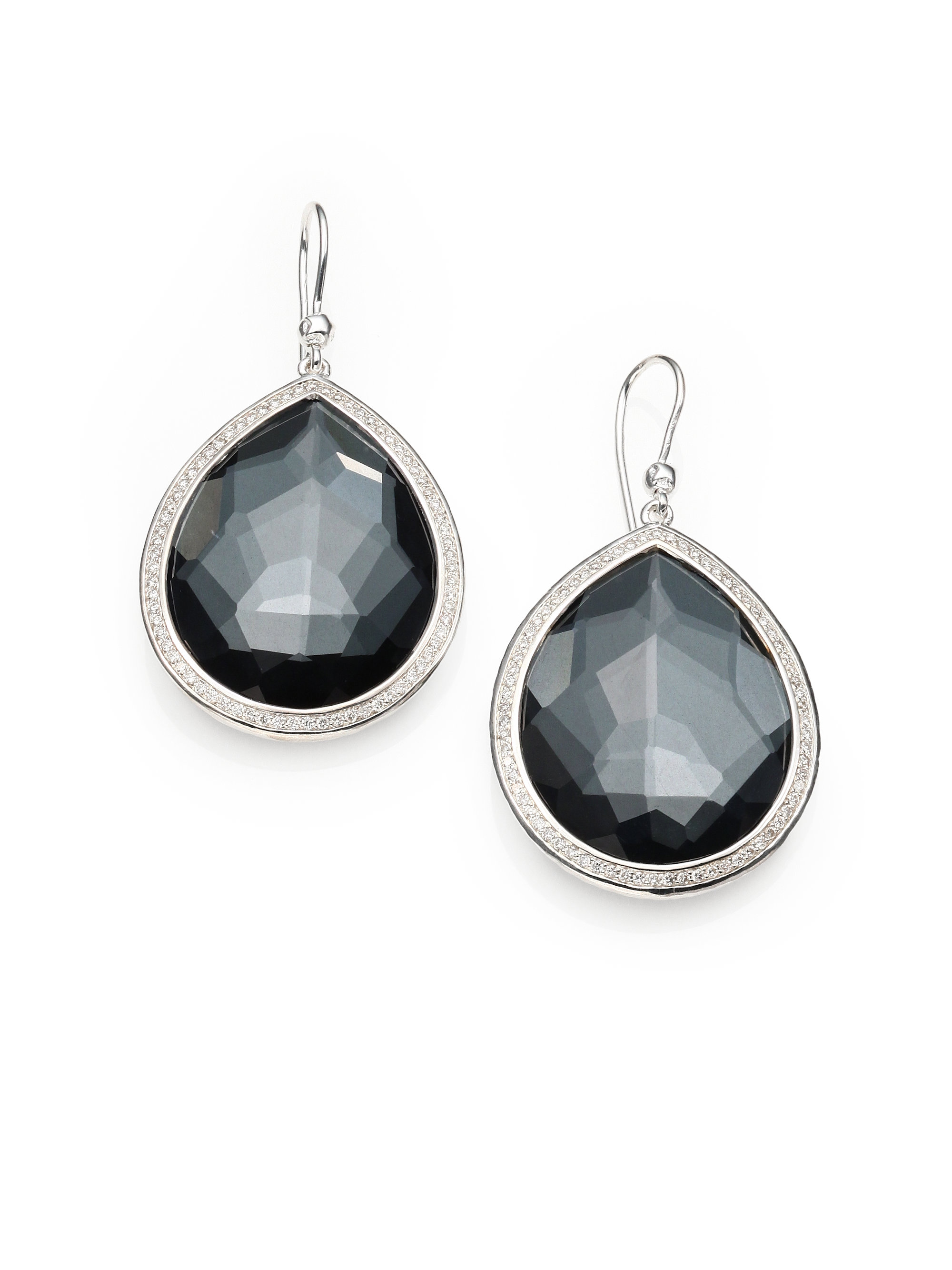 Ippolita Hematite & Diamond Hoop Drop Earrings wQ07Qs