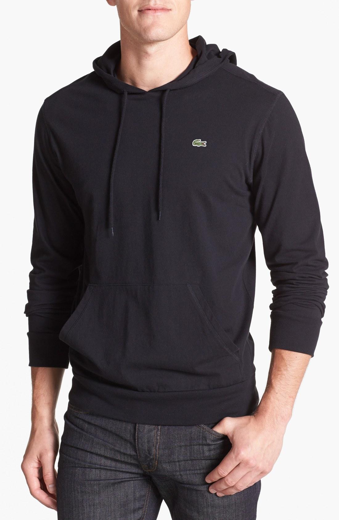 Lacoste Jersey Hoodie In Black For Men Lyst