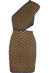 M Missoni Metallic Cutout Honeycombknit Mini Dress - Lyst