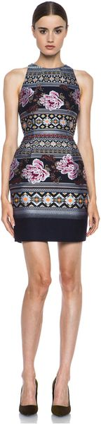 Matthew Williamson Floral Folk Weave Mini Cocktail Dress - Lyst