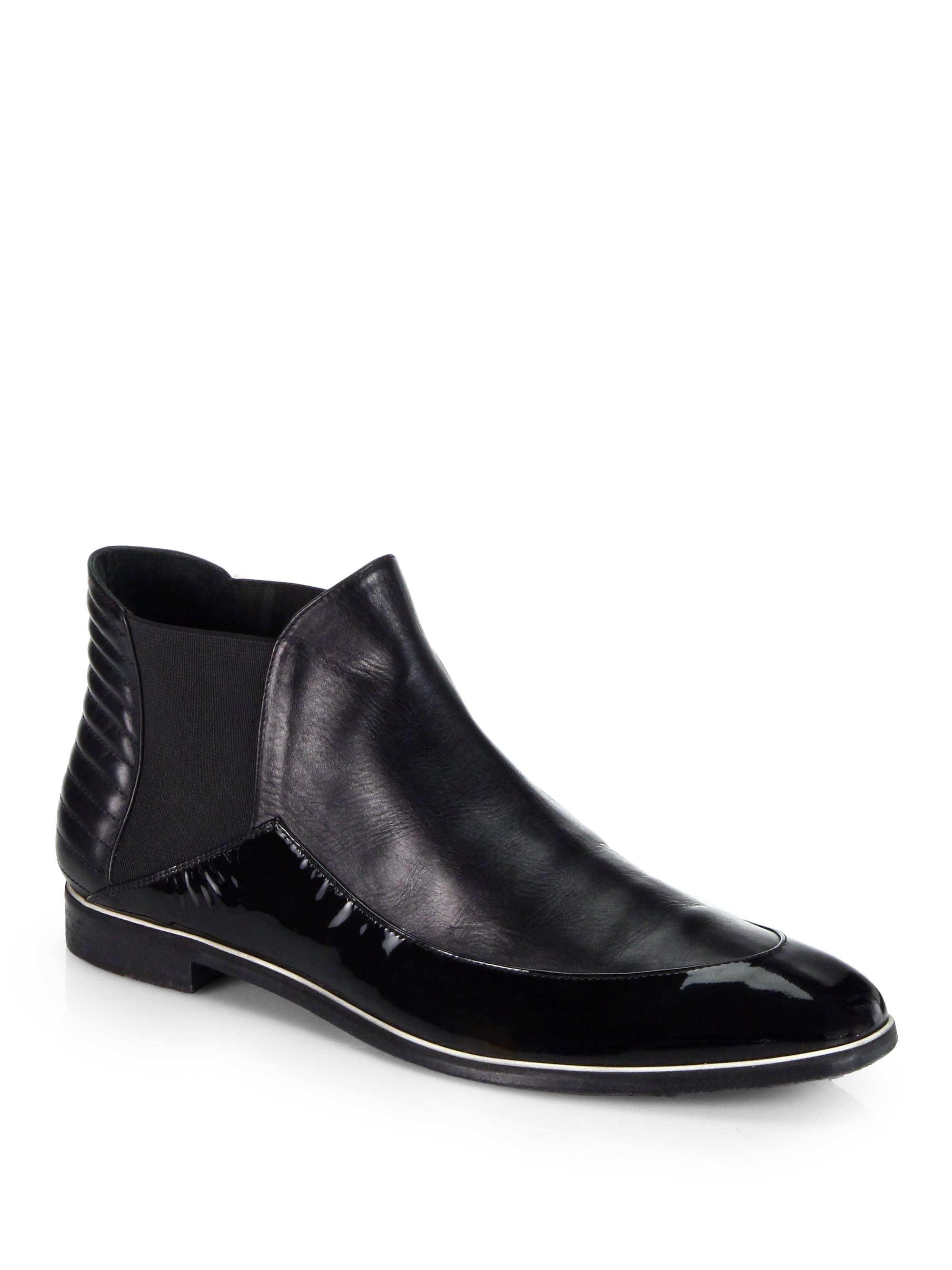 nicholas kirkwood leather patent leather chelsea boots in