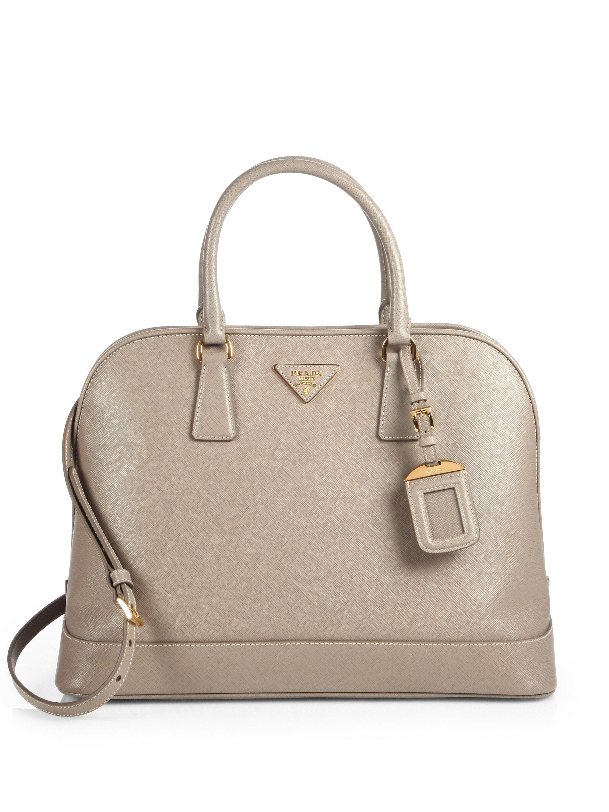 807a2361e59f Lyst - Prada Saffiano Open Promenade Bag in Natural