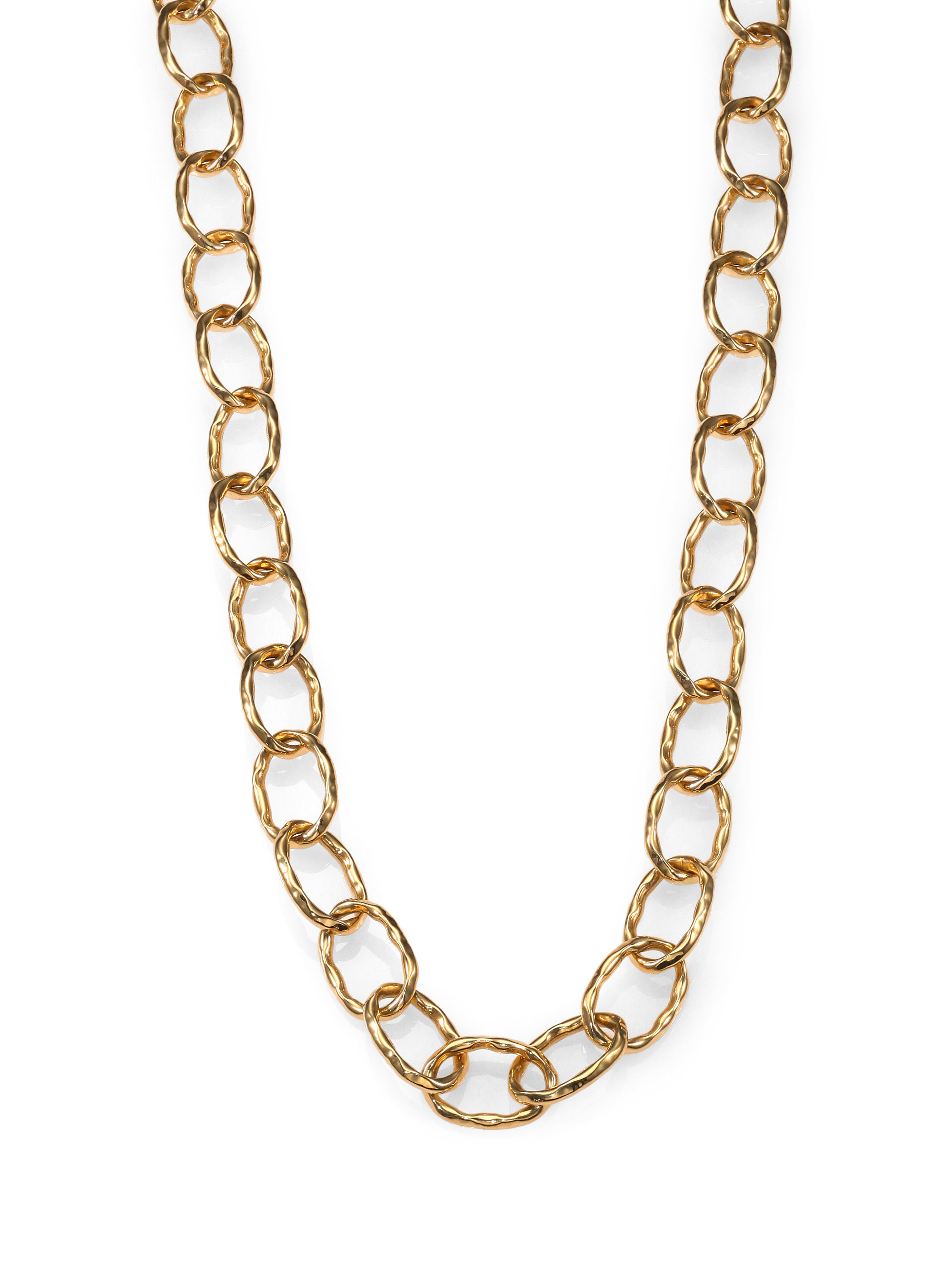 roberto coin 18k gold hammered chain link necklace in gold. Black Bedroom Furniture Sets. Home Design Ideas
