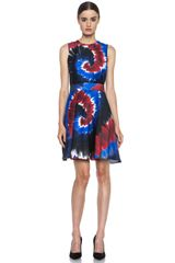 Rodarte Printed Tie Dye Raw Silk Belted Dress - Lyst