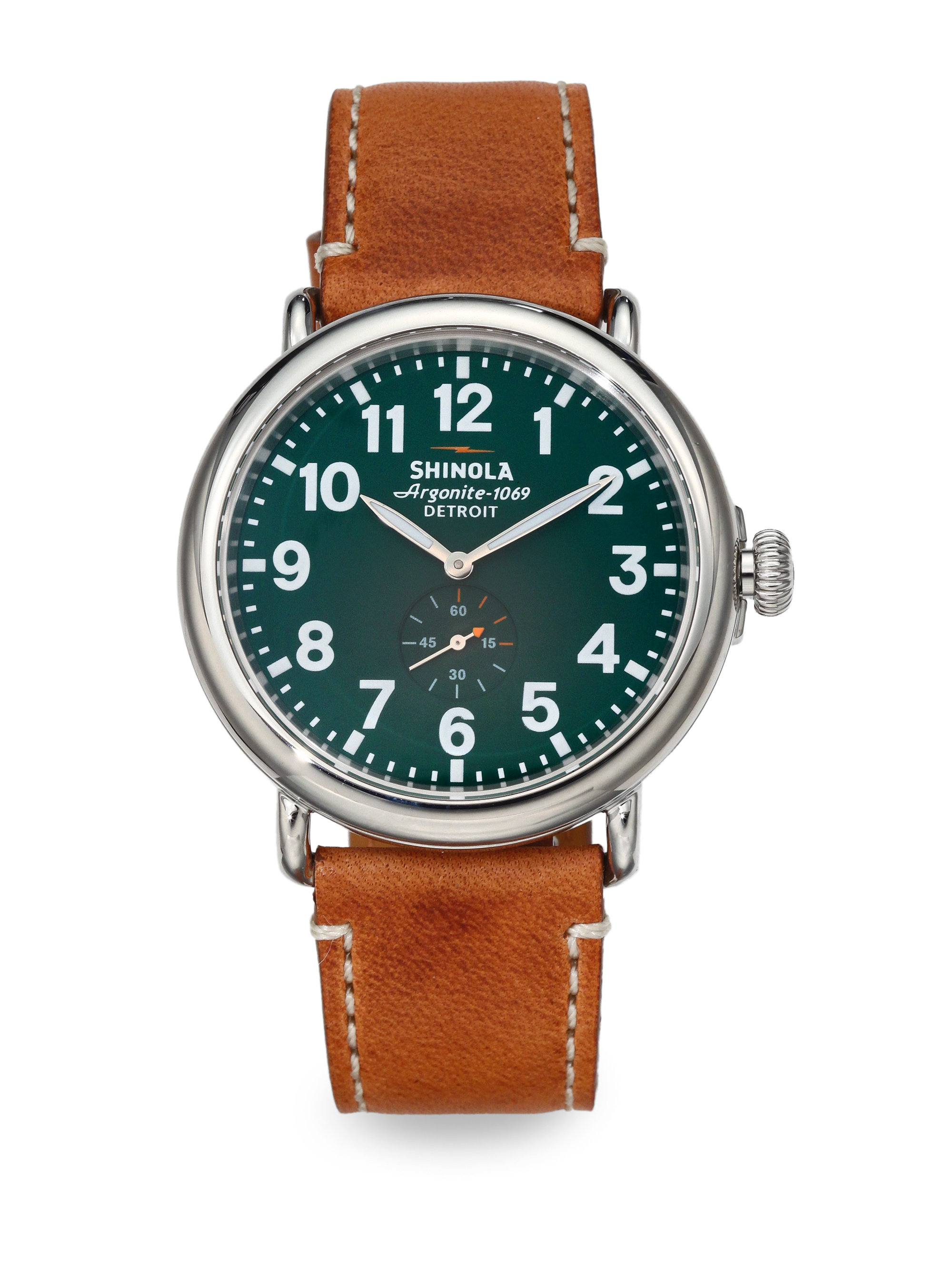 Lyst shinola runwell stainless steel watch in green for men for Stainless steel watch
