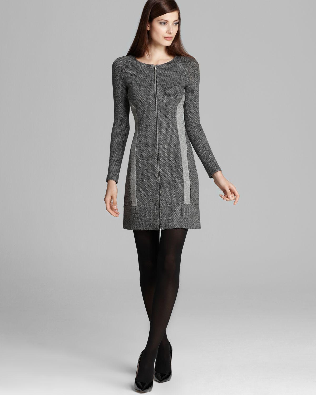 Theory Dress Chayenne Citysape Long Sleeve In Gray
