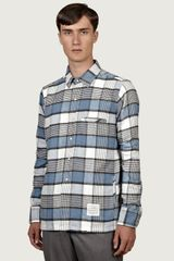Thom Browne Mens Longsleeve Check Flannel Work Shirt - Lyst