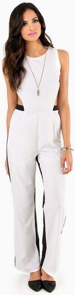 Tobi Bringing Open Back Jumpsuit in Black (White & Black ...