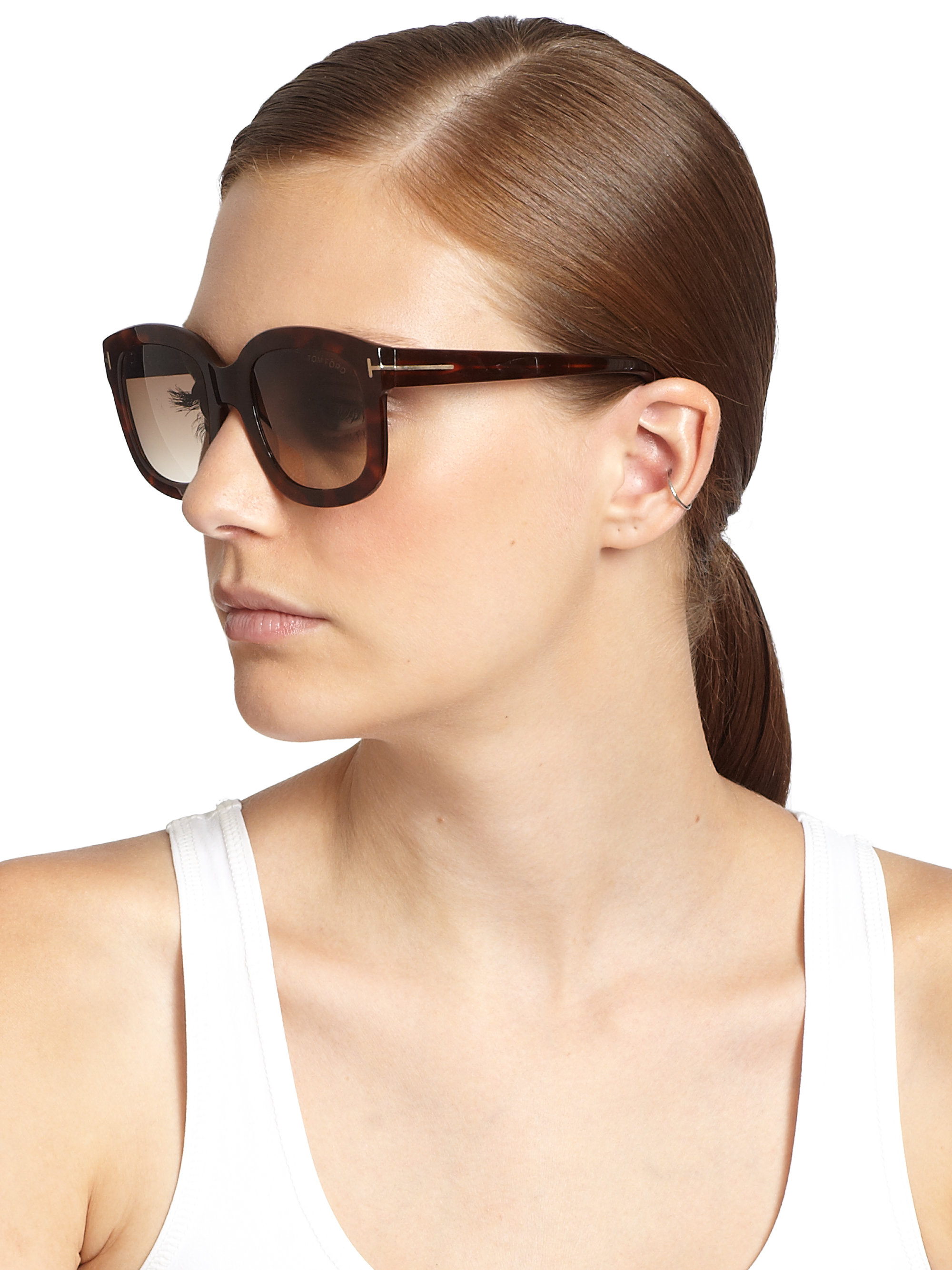 Lyst Tom Ford Christophe Plasic Square Sunglasses In Brown