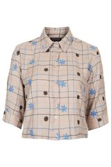 Topshop Crop Flower Check Shirt - Lyst