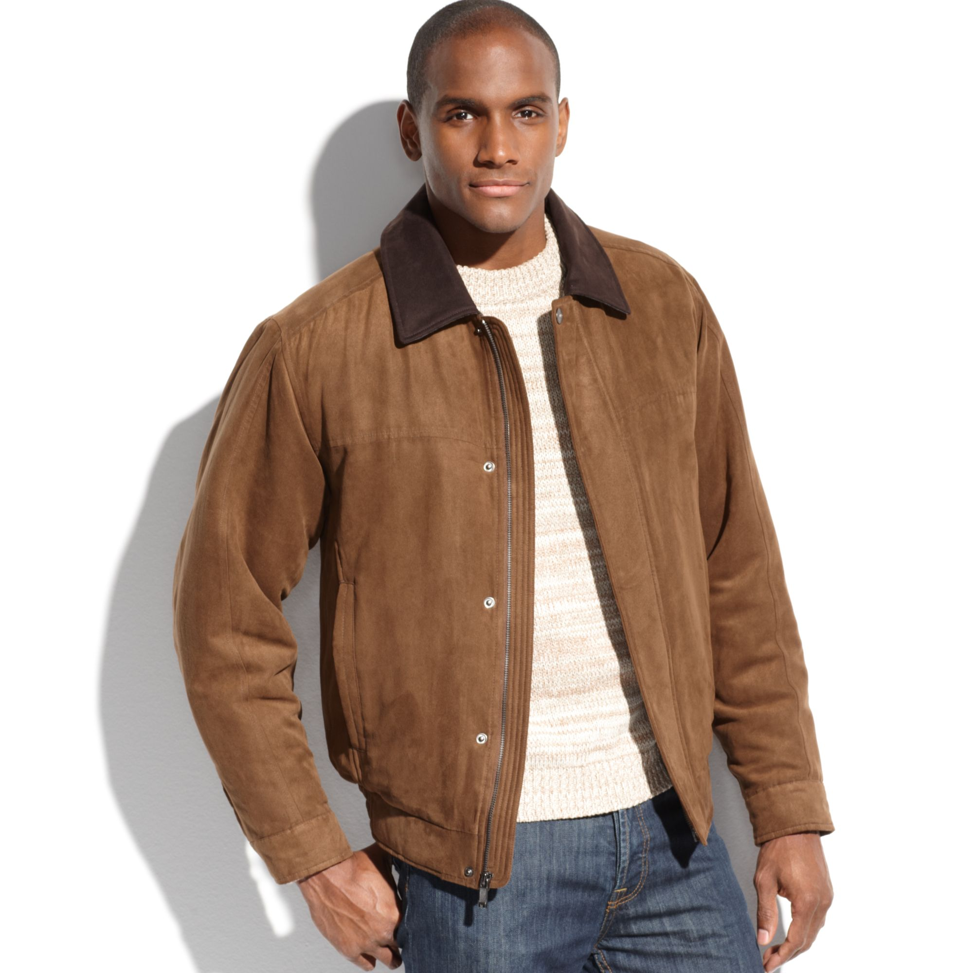 Weatherproof Micro-suede Bomber Jacket in Brown for Men | Lyst