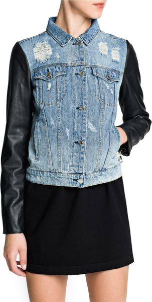 Mango Faux Leather Sleeve Denim Jacket in Black (Dark Denim) | Lyst