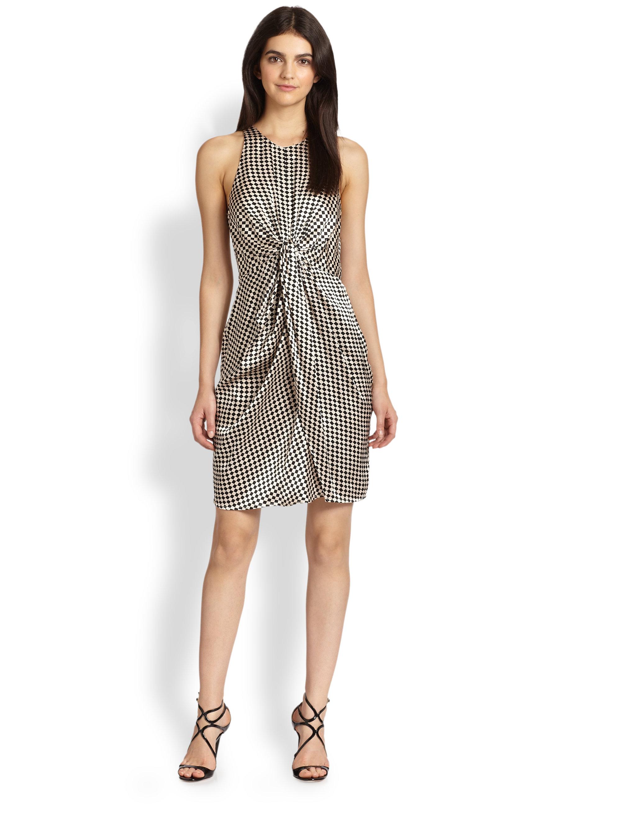 Zimmermann diamond twist silk dress in brown print lyst for Diamond and silk t shirts