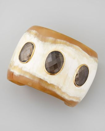 Ashley Pittman Rangi Smoky Quartz Cuff Light Horn - Lyst