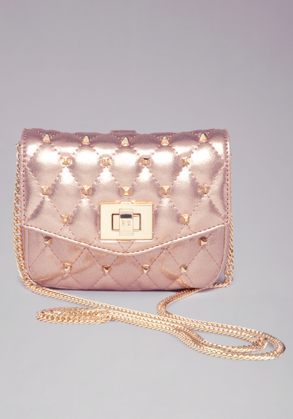 Bebe Ava Quilted Mini Crossbody Bag in Pink (rose)