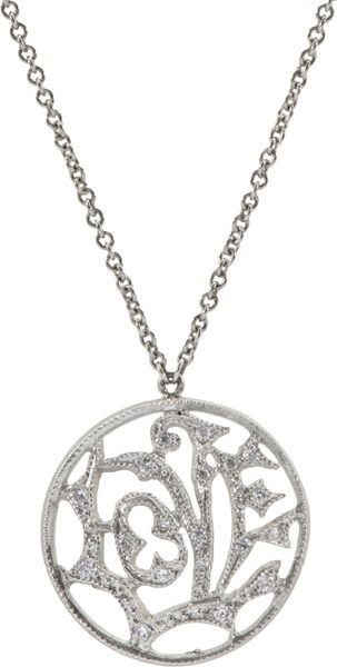 Cathy Waterman Diamond Small Love Charm Necklace In Silver