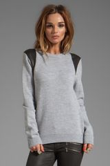 Cut25 Leather Printed Paneled Crewneck Sweater in Gray - Lyst