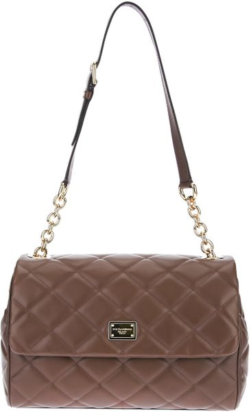 Dolce & Gabbana Quilted Shoulder Bag in Brown - Lyst